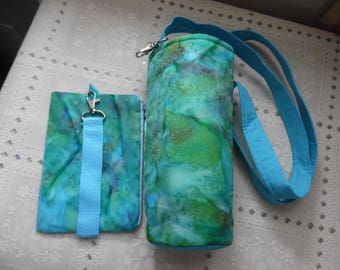Insulated Water Bottle carrier PLUS Zipper Case Wristlet Strap / Bottle Tote