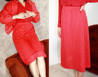 Shiny Knit A Line Skirt / High Waisted Red Midi Skirt / L Large