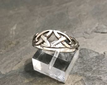Size 8, Sterling silver handmade statement ring, solid 925 silver filigree band, stamped 925