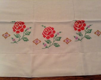 Hand Embroidered Pillow Case, Red Roses on White, Standard size