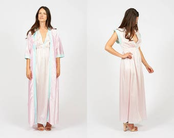 Vintage 80s Pink and Sky Blue Nighty and Robe