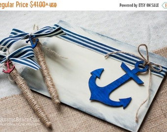 8% OFF Nautical Guest book anchor, bow, rope - beach wedding nautical  - Personalized