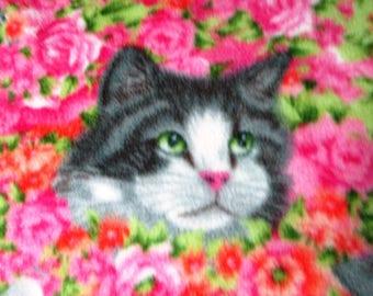 Cats on Pink Flowers Fleece Throw