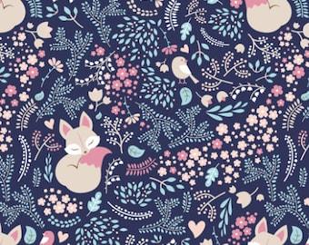 Navy Sleeping Fox Fabric by the Yard Cotton Quilting Fabric Childrens Minky Knit Organic Cotton Nursery Fabric Woodland Baby 5079342