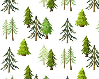 Personalized baby blankets nursery fabrics by gingerlous on etsy forest fabric by the yard cotton pine trees fabric woodland nursery organic cotton knit minky sciox Image collections