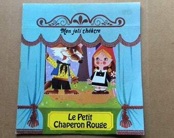 Mon Joli Theatre - Le Petit Chaperon Rouge - Little Red Riding Hood - Storybook & Play Set - French Language - Vintage 1970s - 53-137