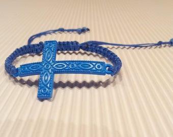LARGE Cross Blue macrame bracelet