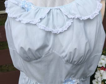 Vintage cotton nightgown , Pale blue cotton with Lace and aqplique