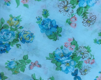 Vintage cotton yardage , sweet green and blue floral