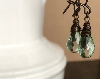 Green Amethyst Faceted Teardrop Earrings with Antique Brass Wire Wrap and Ear Wire