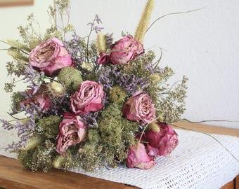 Dried Roses bouquet- Wedding Bouquet - Rustic Bouquets