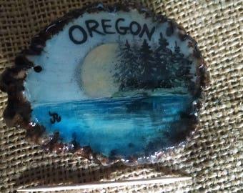 Antler Belt Buckle, elk antler burr/rosette, original painting State of Oregon scene, moonlit Trees/lake on State Buckle