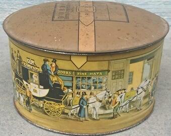 Dobbs Hat Box*Vintage Tin* Salesman Sample Hat Box*Small Tin Box*Salesman Sample Tin Hat Box