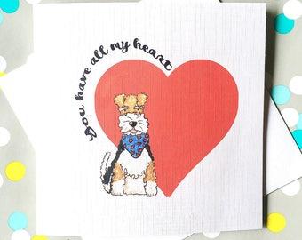 Fox Terrier Wire Haired Fox Terrier  Dog Illustration Valentines Card