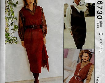 McCall's 6730         Misses  Jumper in 2-Lengths          Size 14,16,18       Uncut