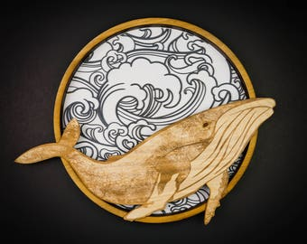 Whale Wall Art, Humpback, 3D, Wood
