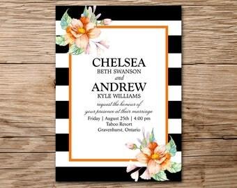 Modern Wedding Invitation, Printable Wedding, Watercolor Floral Invitation, Watercolor Invitation, Rustic Wedding Invitation, Bridal Shower
