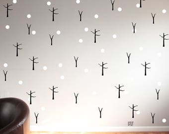 Winter Decor. Snow Decals. Forest Wall Decals. Seasonal Decor. Holiday Decor. Wall Decal. Tree Decals. Home decor decals. Nature Decor.