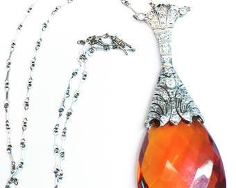 Art Deco Platinum Diamond Citrine Necklace