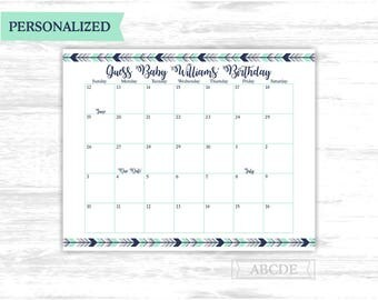 Due date calendar Personalized Mint Navy Woodland boho tribal Baby Shower Guess Baby Birthday predictions Due Date Calendar (PDWSI501)
