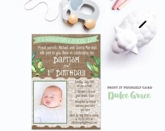 Combined baptism birthday invites, greenery baptism invitations, greenery invitations, boy baptism invites, print your own baptism invites