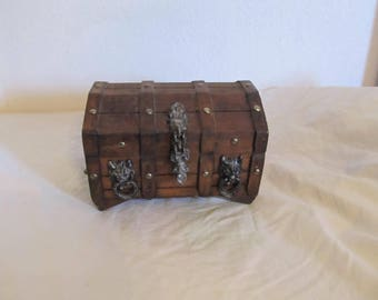 Vintage Wooden Wolf Doorknocker Gothic Treasure Chest Jewelry Box
