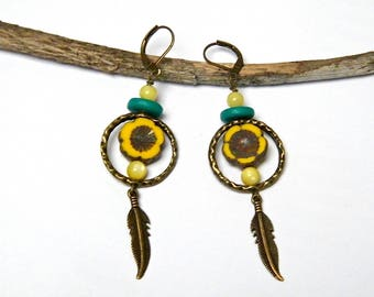Bohemian earrings, bronze plated brass, Czech glass, howlite, gift idea for woman