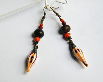 Earrings Lampwork Glass and pewter, seeds, bone, brass, women gift idea