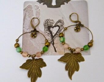 Pink, green earrings, rustic, hoop earrings in antique bronze, pink and green glass beads