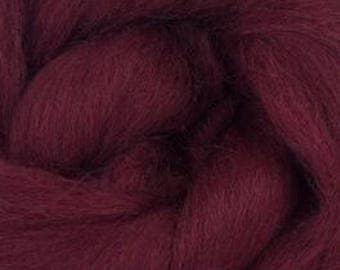 Corriedale Wool Roving (Sliver) in Burgundy - 2 oz - World of Wool product