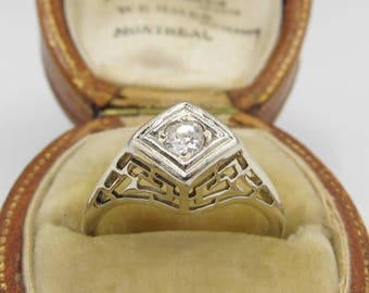 Antique Art Deco Diamond Filigree Engagement Ring 14k White Gold Sz 5.75/ Antique Vintage Wedding Bridal
