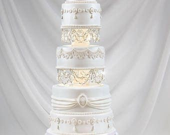 Swarovski and Rhinestone Crystal Chandelier Wedding Cake Tier Separator Set
