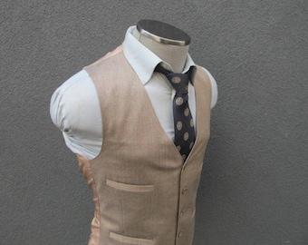 1960s Vintage Oatmeal Vest / Oatmeal Waistcoat / Wedding / Size 38 Medium / Med / M / Oatmeal / Groom / Formal Vest / Men's Suit Vest