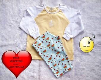 Girls Pajamas, girls PJ's, Girls sleep wear, Girls pyjamas Size 2, Toddler girls pyjamas size 2, Watermelons , FREE Shipping