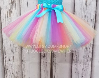 Customizable Rainbow Tutu Skirt, Colorful Tutu, Rainbow Party, Rainbow Birthday, Clown Tutu, Clown Costume, Circus Tutu, Unicorn Tutu