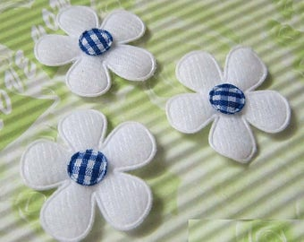SET of 5 flowers blue white gingham 25 embellishment applique 142 mm