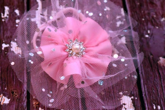 Sparkly Pink Tulle Rosette elastic headband - Baby / Toddler / Girls / Kids Headband / Hairband / Hair bow / Hairclip /Barrette
