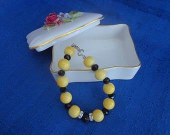 Yellow and Black Artisan Bracelet,Yellow Bracelet