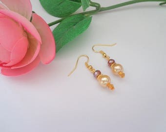 Pearl and Amber Earrings,Pearl Earrings