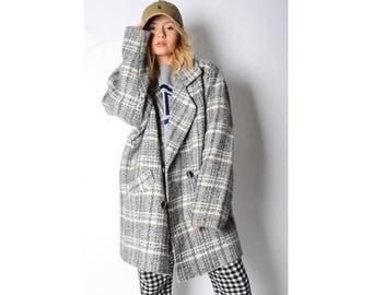 Vintage 70s Grey Check Wool Blend Coat 4_140118_G