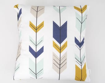 Navy Blue & Mustard Arrows Cushion Cover