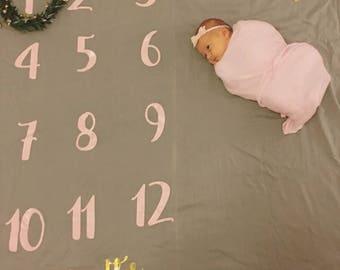Personalized Monthly Milestone Blanket & Wreath