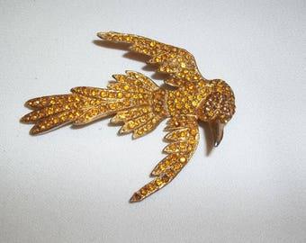 """Art Nouveu """"Bird in Flight"""" Brooch - Goldtone, Tiny Golden Rhinestones, 1406"""