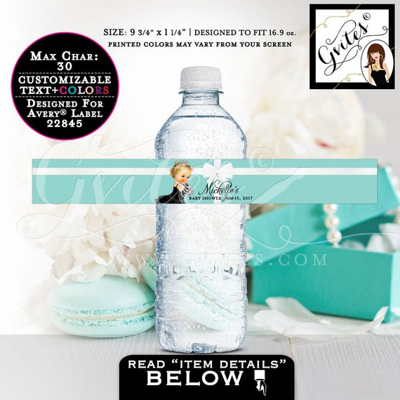 """Breakfast at baby shower water bottle labels, blue theme water stickers. PRINTABLE. 9.75x1.25""""/5 Per Sheet {Designed For Avery® 22845}"""