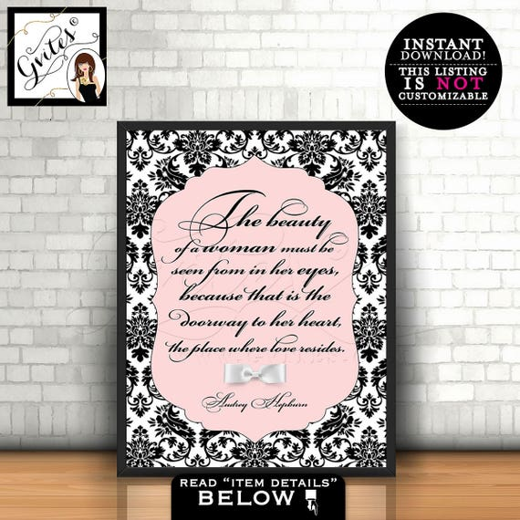 Audrey Hepburn Quote wall art, poster, blush pink poster home decor - The beauty of a woman Audrey quote, PRINTABLE, 8x10 Instant Download