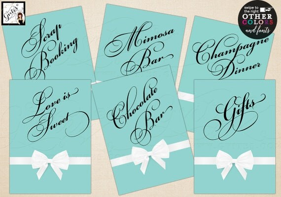"Breakfast at Tiffany's party signs, personalized with your own text. Max characters is 20. Set of 6 {4x6"" or 5x7""} Digital File Only!"
