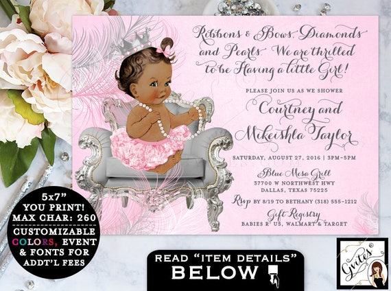 Pink and Silver baby shower invitations, african american princess ribbons bows, diamonds pearls girl, ethnic invites. {Silver/Pink Crown}