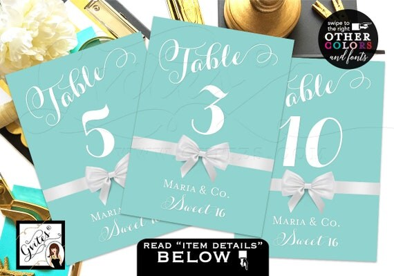 Sweet Sixteen and Co Table Numbers, Sweet 16 Printable Table Cards ...