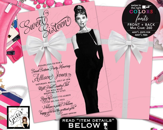 Sweet 16 Breakfast at Tiffany's invitation, Quinceanera invites, mis quince, Audrey invitations 5x7 double sided. Digital File Only!