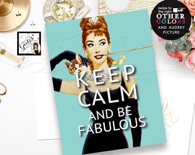 Custom Audrey Hepburn poster, signs, quotes, Keep Calm Audrey Poster Sign, bridal shower, wall art, text, picture & colors.